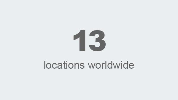 13 locations worldwide